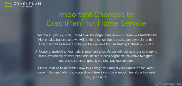 Die Nachricht des Backup-Anbieters für alle, die Interesse an der Home-Lösung haben. Eine CrashPlan-Alternative wird zwar aufgezeigt, für Apple User ist Backblaze aber brauchbarer. (Screenshot von CrashPlan.com)