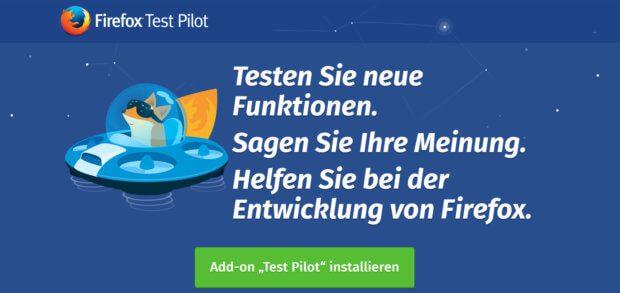 In schöner Aufmachung wird man auf der Seite von Firefox Test Pilot empfangen. Das Add-On für den Mozilla-Browser sorgt für interessante Experimente beim Surfen.