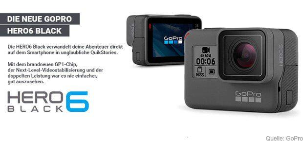 Die neue Action- und Outdoor-Kamera GoPro HERO 6 Black ist draußen. Ein eigener GP1-CPU, Touch-Zoom, HDR-Fotos und 4K Videos mit 60fps gehören zu den Specs. technische Daten, Datenblatt