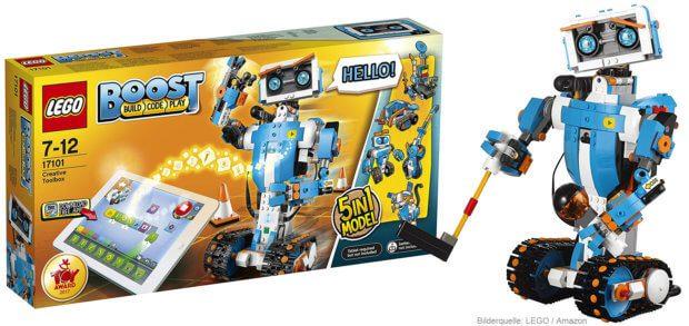 Bei Amazon könnt ihr das LEGO Boost Set 17101 kaufen, und das für einen guten Preis. Bestellt aber noch mind. 6 AAA-Akkus dazu, dann könnt ihr per App auch die Bauanleitungen abrufen ;)