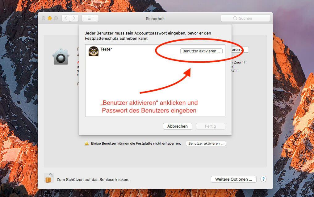 """In diesem Fenster kann man nun für alle Benutzer die Funktion """"FileVault entsperren"""" aktivieren. Ist dies erledigt, erscheinen die entsprechenden Benutzer auch alle im Anmelde-Fenster nach einem Neustart."""