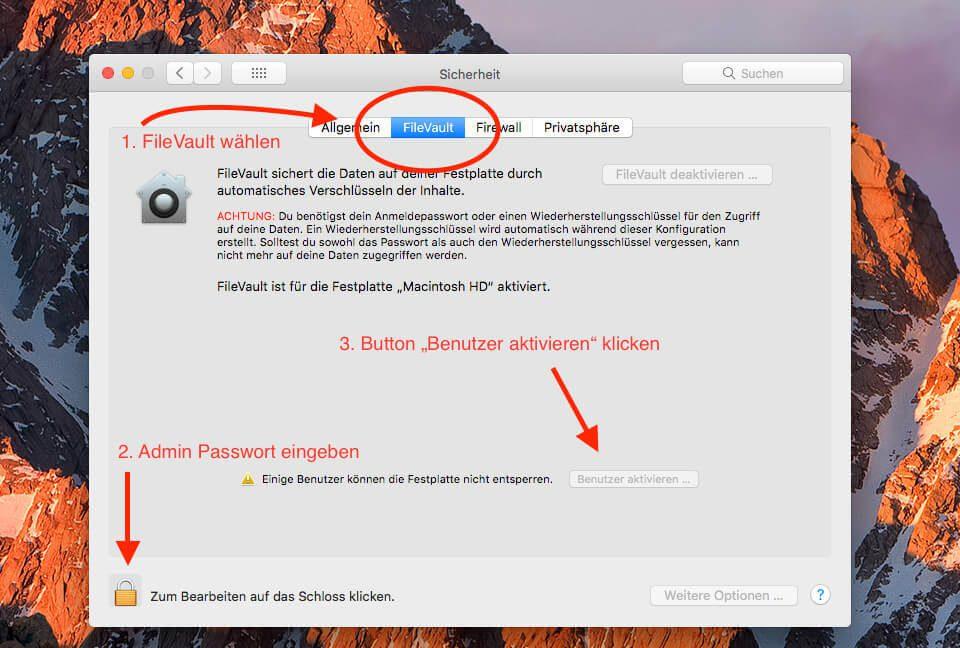 """Hat man oben den Reiter """"FileVault"""" angeklickt, muss man links unten noch das Schloss, das man mit Eingabe des Admin-Passworts entsperren kann. Erst dann kann man den Punkt """"Benutzer aktivieren"""" anklicken."""