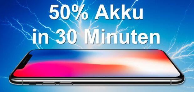 Schnelles Aufladen beim iPhone X Akku soll superschnell sein: bis zu 50% Akkuladung in nur 30 Minuten. Die benötigte Technik gibt es schon, aber sie ist teuer. Apple Smartphone