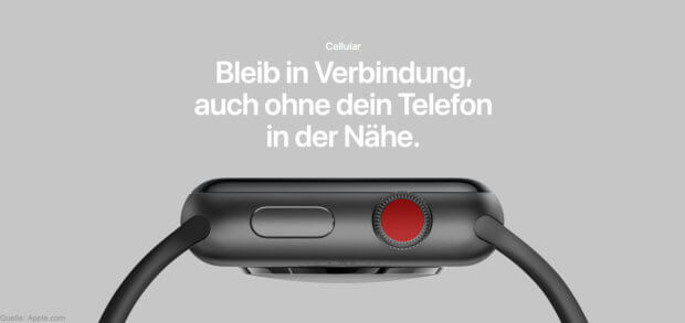 Die Mobilfunk-Versionen der neuen Smartwatch aus Cupertino erkennt ihr am roten Punkt auf der digitalen Krone. Cellular Red Dot on Digital Crown 2017