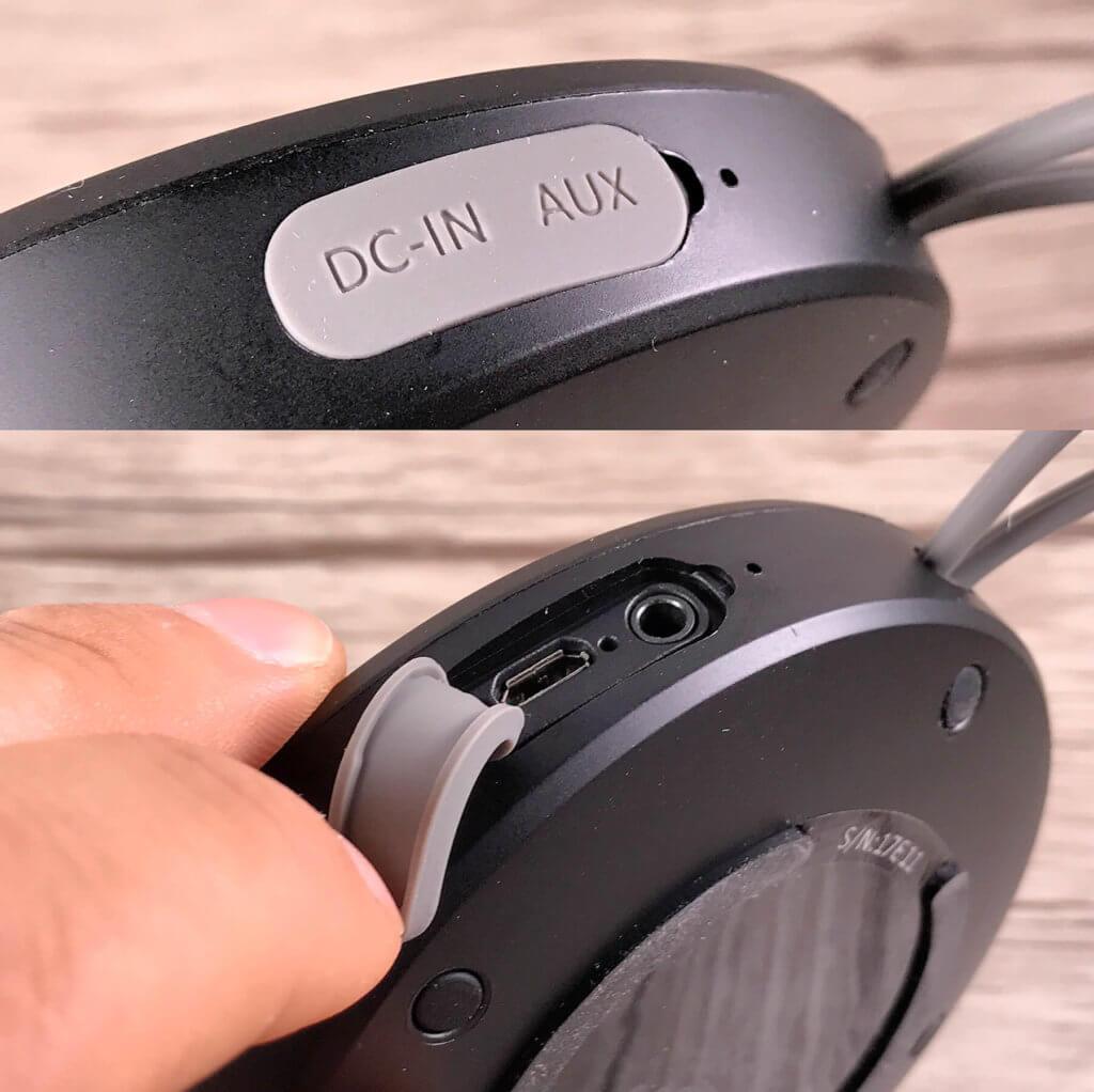 Hier sieht man die AUX- und USB-Ports für den Anschluss von externen Audioquellen und das Aufladen des Gerätes.