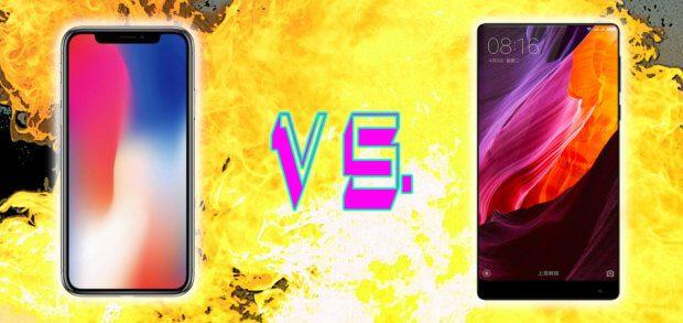 Das iPhone X und das Xiaomi Mi Mix 2 im Vergleich. Display, Kameras und weitere technische Details in der Übersicht sowie Einschätzungen zu iOS, Android und MIUI. Bilder: Apple / Xiaomi
