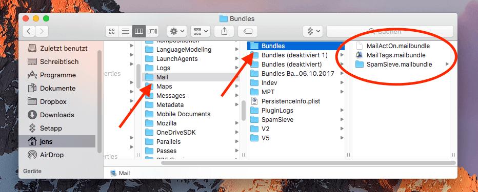 Der Plugin-Ordner für Apple Mail findet sich in ~/Library/Mail/Bundles/. Dort sind die einzelnen Plugins mit Dateien oder Unterordnern vertreten.