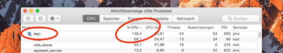 Wenn APple Mail eine extrem hohe CPU-Last erzeugt, dann ist irgendwas im Busch. In meinem Fall war es ein Mail-Plugin, das Amok lief. ;-)
