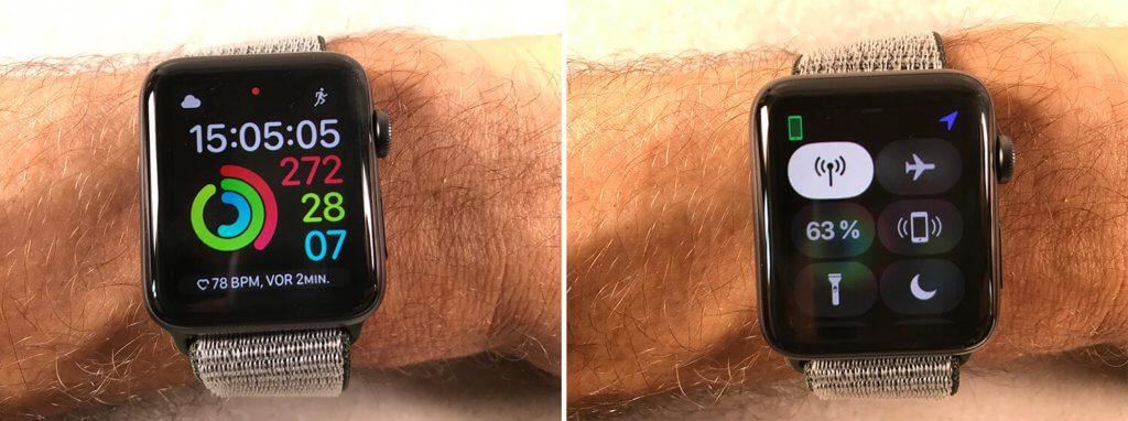 Die Apple Watch vor dem LTE-Test: 63% Akku-Ladung und noch mit dem iPhone verbunden, das aber beim Joggen zuhause blieb.