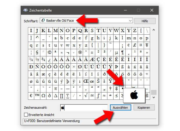 Das Apple-Zeichen eingeben am PC ist dank diesem Systemprogramm möglich. Screenshot: Sir-Apfelot.de