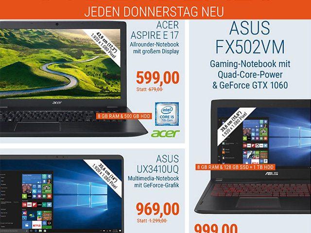 Cyber Deals Laptop billiger kaufen Acer HP Dell Gaming-Notebook bestellen