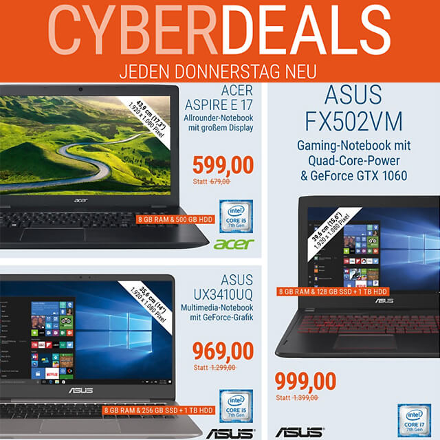 Cyber Deals Laptop billiger kaufen Acer HP Dell Gaming-Notebook bestellen