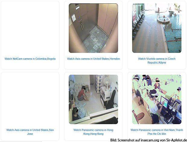 Insecam zapft weltweit ungeschützte Überwachungskameras an und bietet Bilder oder Live Streams direkt im Webbrowser an - egal ob kommerzielle oder private Sicherheitskamera.