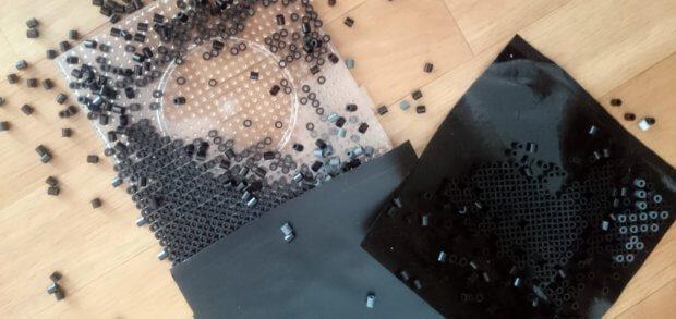Klebefolie war keine gute Idee für die Fixierung von noch nicht gebügelten Beads...