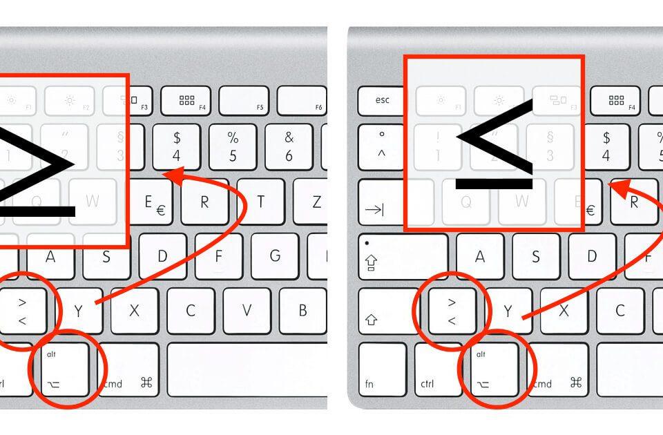 Die Vergleichsoperatoren Kleiner-gleich und Größer-gleich sind mit der ALT-Taste, der SHIFT-Taste und der eckigen Klammer auf der Mac-Tastatur einzugeben.