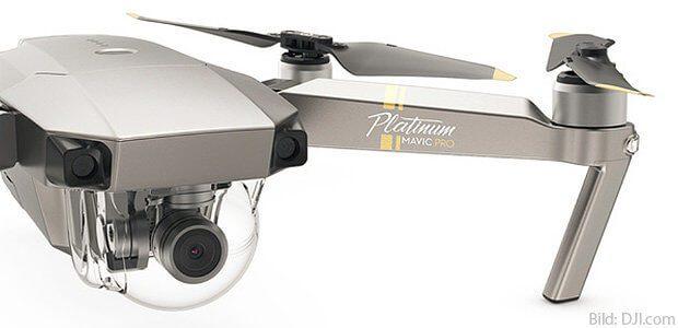 Die DJI Mavic Pro Platinum Kamera-Drohne für hochauflösende Fotos und Videos in HD, FHD, 4K und C4K. Daten, Vergleich zu Spark, Phantom 3 und mehr gibt's in diesem Beitrag!