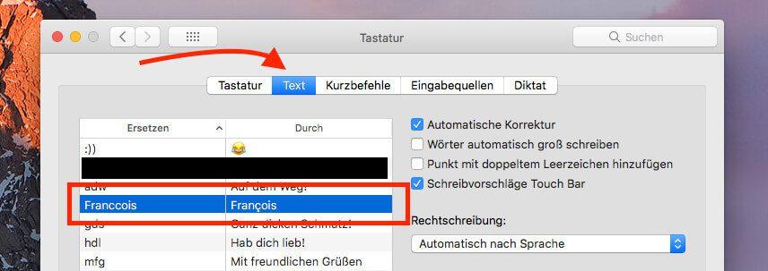 Das Problem von immer wiederkehrenden Namen mit Akzenten läßt sich gut mit der mac OS Funktion der Textkürzel beheben.
