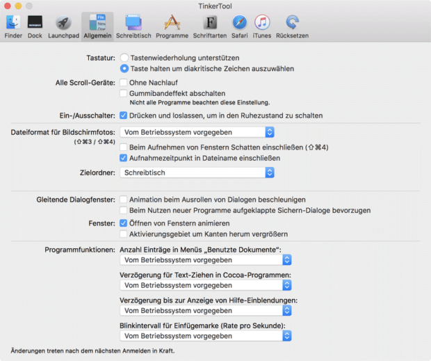 Auch allgemeine Änderungen und Einstellungen könnt ihr im Apple Betriebssystem für den Mac erwirken. Bild: bresink.com