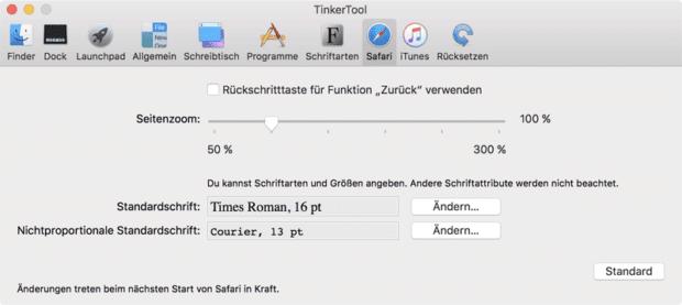 Einstellungen in macOS mit TinkerTool - hier seht ihr, was ihr am Safari-Browser konfigurieren könnt. Bild: bresink.com