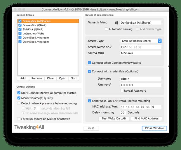 ConnectMeNow als Screenshot von der Seite Tweak4All. Ihr seht die Einstellungen, Server-Verbindungen, Smart Home Geräte und weitere Details.