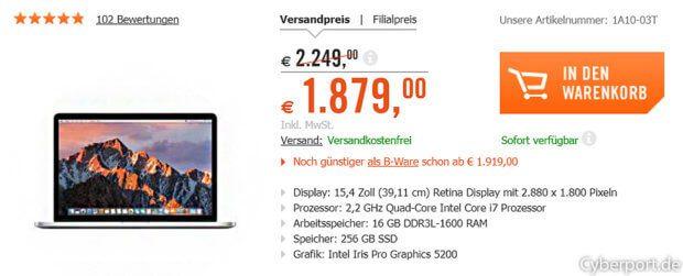 """Die dieswöchigen Cyberport CYBERDEALS (16. bis 22. November 2017) bringen euch unter anderem dieses Apple MacBook Pro 15,4"""" (Mid 2015) zum vergleichsweise kleinen Preis."""