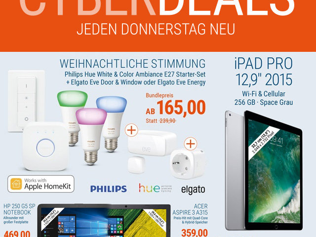 Windows Notebook billiger kaufen, Cyberport Technik-Angebote, iPad günstiger, Smart Home Licht kaufen