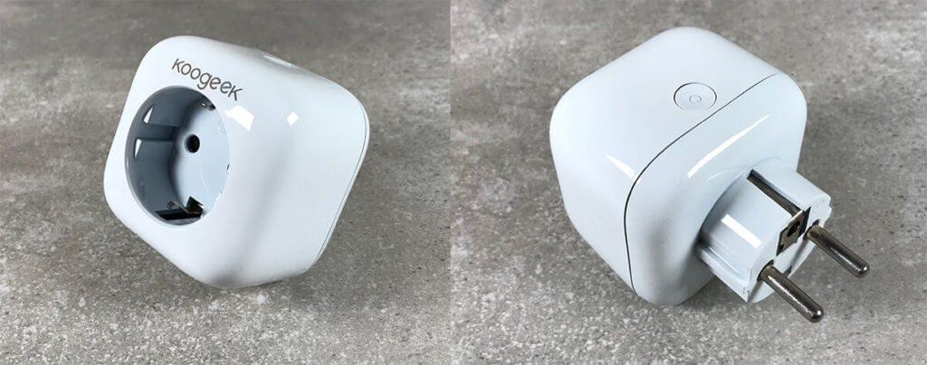 """Auf der Oberseite der Wifi-Steckdose von Koogeek ist der Taster für die manuelle Schaltung zu sehen. Der Taster ist, wie das zwei """"e"""" im Koogeek-Schriftzug auch beleiuchtet, wenn die Steckdose eingeschaltet ist."""
