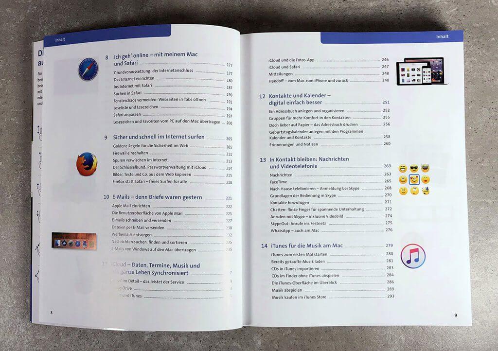 Am Inhaltsverzeichnis sieht man schon, wie umfassend das Buch über das Thema macOS, Einstellungen und das Arbeiten mit Programmen informiert.