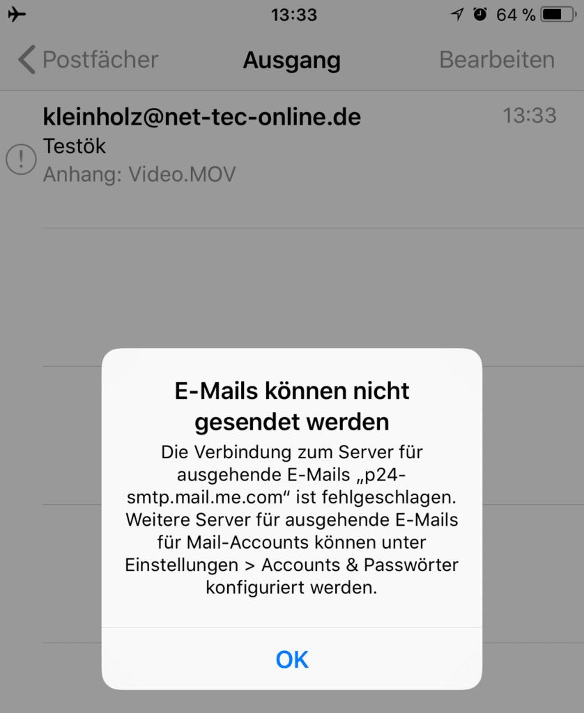 Schaltet man das iPhone in den Flugmodus, wirft das Mailprogramm unter iOS natürlich eine Fehlermeldung aus, was aber gewollt ist, da es dann nicht mehr versucht, die Mail zu versenden.