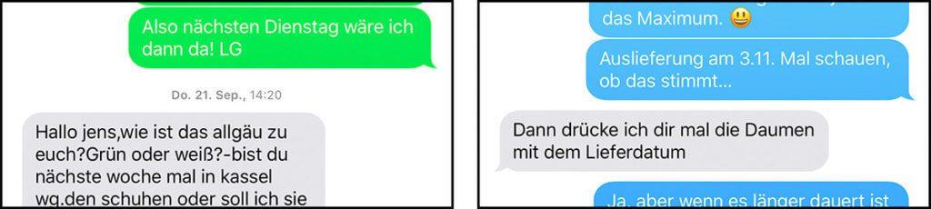 Mit den Farben Grün und Blau werden die SMS-Kurznachrichten von den iMessages unterschieden.