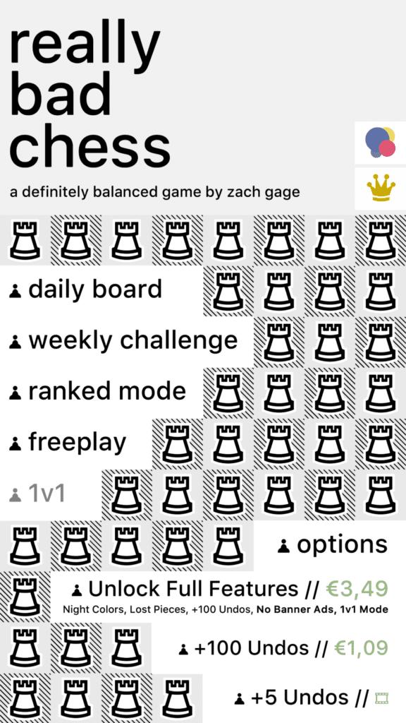 """Das Menü von Really Bad Chess bietet oben diverse Spielmodi und unten die Möglichkeit, das Pro-Paket oder ein paar """"Undos"""" zu kaufen oder per Werbefilm freizuschalten."""