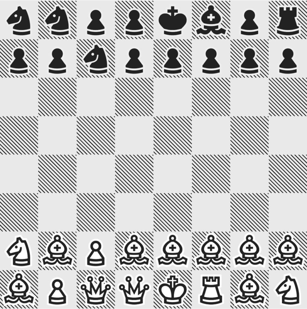Ein Spielbrett mit dem Rank 0… der Menschenspieler (weiss) ist dezent im Vorteil. Bei Rank 50 ist es etwa ausgewogen.