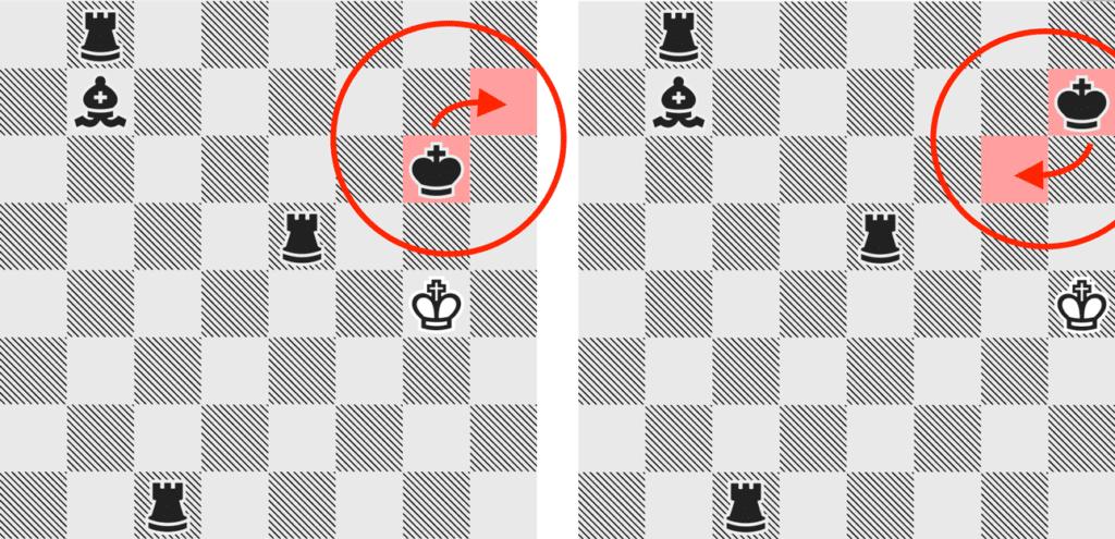 Kleiner Fehler der KI: Trotz der drei Türme, die der Computer zur Verfügung hat, bewegt er nur den König hin und her.