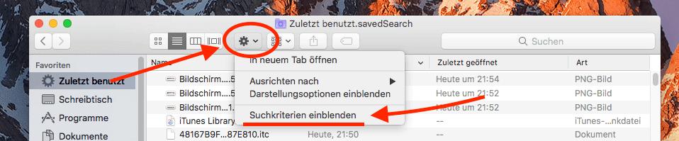"""Die Suchkriterien für den """"Zuletzt benutzt""""-Ordner bekommt man bei manchen Macs nur über das Zahnrad in der Symbolleiste des Ordners (linke Maustaste!)."""
