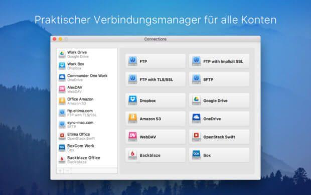 Mit der Mac App CloudMounter könnt ihr Cloud-Speicher als Laufwerk mounten und damit lokalen Speicherplatz sparen. Die dezentralen Dateien können bearbeitet, ausgetauscht und bewegt werden - direkt im macOS Finder.