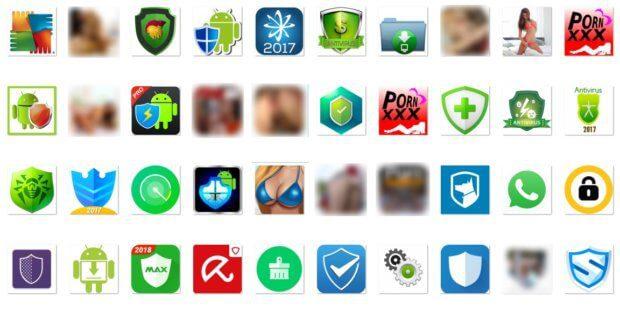 In diesen Apps soll Loapi versteckt sein - angebliche Antiviren-Software und Erwachsenen-Programme mit Porno-Inhalten. (Quelle: Kaspersky)