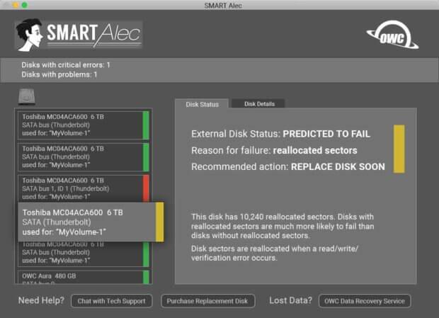S.M.A.R.T. Festplatte im kritischen Status. Am besten ist hier: Backup machen und Ersatz kaufen...