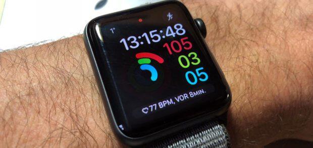 Auf dem Display der Apple Watch findet ihr standardmäßig keine Akku-Ladeanzeige. Wo ihr sie unter watchOS findet, das lest ihr hier. Bilder: Sir Apfelot