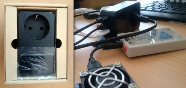 """Das AUKEY PA-S12 Netz-Ladegerät mit Schuko-Dose, 4 x USB-A und 16A in der Verpackung und beim """"Hardcore""""-Test mit Belegung aller Anschlüsse."""