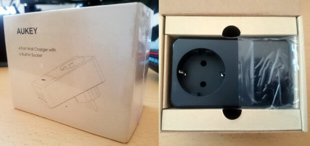 Von Amazon gelieferte Verpackung mit neuem Netz-Lader und der Inhalt...