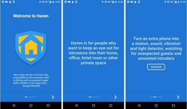 Mit der Haven App könnt ihr ein Android-Handy in eine Überwachungsanlage umwandeln. Die Sensoren, Kameras und Mikrofone registrieren Veränderungen, auf das Zweitgerät wird dies dann kommuniziert.