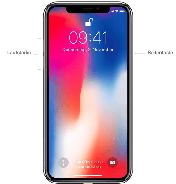 Seitentaste und Leiser- bzw. Lauter-Taste beim aktuellen Smartphone-Flaggschiff aus Cupertino. Bildquelle: Apple.com