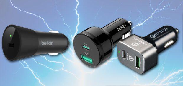 Das Belkin 36W USB-C Autoladegerät zum Schnellladen von iPhones 8 und X könnt ihr noch nicht bei Amazon kaufen, dafür die günstigeren Lader von AUKEY und POWERocker.