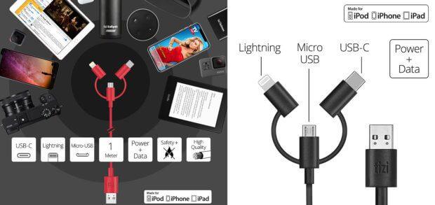 Drei Anschlüsse sorgen für komplette Kompatibilität mit Android- und iOS-Geräten genauso wie mit anderen mobilen Gadgets. Zudem ist das Kabel MFi-zertifiziert.