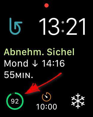 Der Apple Watch Batteriestand auf dem Display als Ziffernblatt-Komplikation.
