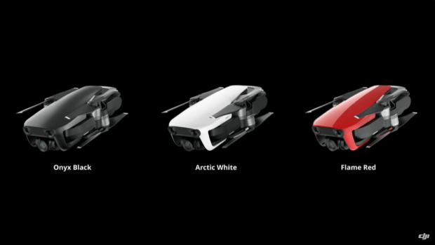 Die DJI Mavic Air in Onyx Black, Arctic White und Flame Red.
