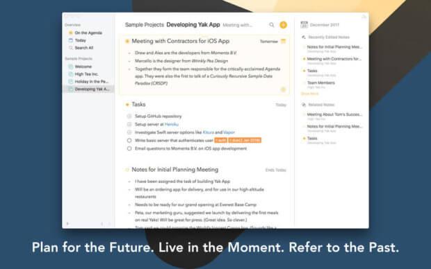 Agenda will als Produktiv-App nicht nur Kalender, Notizen und Textverarbeitung verbinden, sondern kostenlos, als kostenpflichtige Premium-Version und als Update-Abo-Software auftreten. Ein attraktives Modell! (Bild: Apple Mac App Store / iTunes)