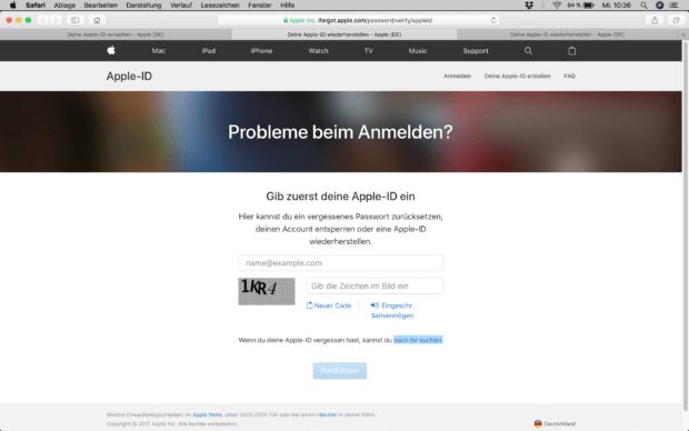 Probleme beim Anmelden? Dann gebt eure Apple ID ein...