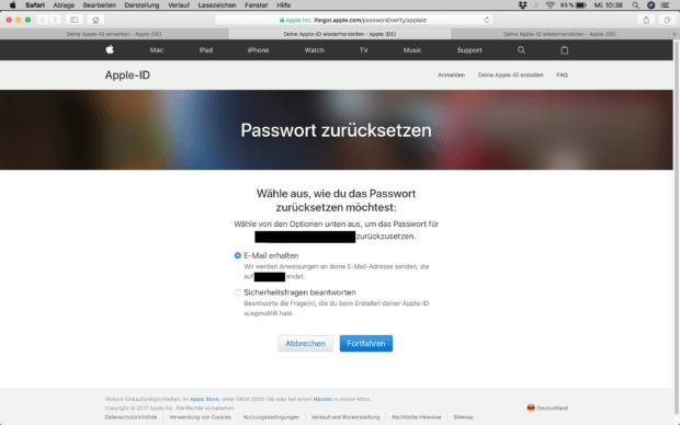 Ihr könnt euch eine E-Mail zusenden lassen oder die Sicherheitsabfrage durchführen und dann das Apple ID Passwort zurücksetzen.