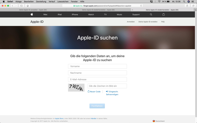 apple id passwort zurücksetzen